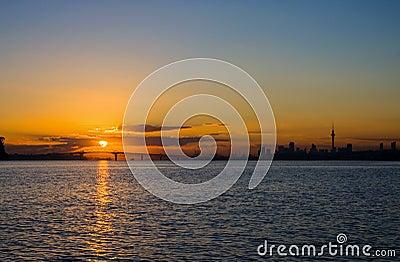 Auckland City Sunrise Silhouette