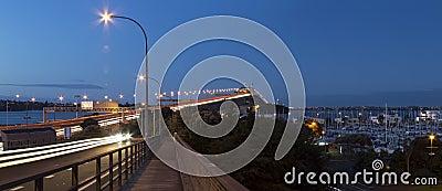 Auckland harbor bridge at night