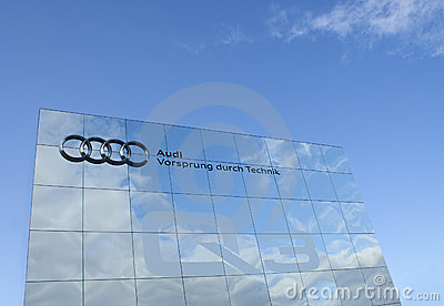 Audi advertising wall, raw Editorial Stock Image