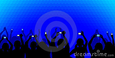 Audience on blue