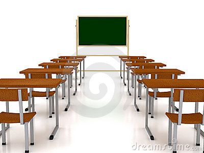 Audience with desks over white background