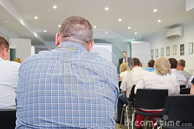 The audience listens to the acting Editorial Stock Image