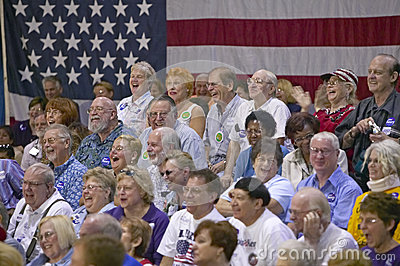 Audience of retired persons laughing Editorial Stock Photo