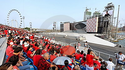 Audience and stage at NDP 2009 Editorial Stock Photo