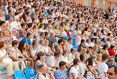 The audience in the stands at a football match Editorial Stock Photo