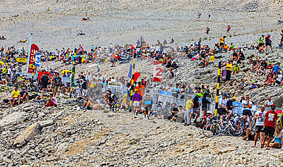 Audience of Tour de France on Mont Ventoux Editorial Stock Photo