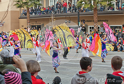 Audience Watching Flag Wavers in Rose Bowl Parade Editorial Photography