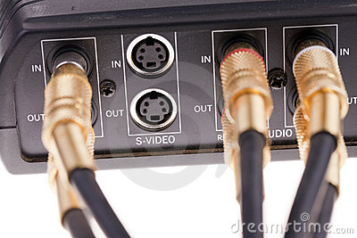 Audio cables plugged into video interface box