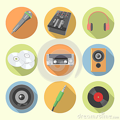 Free Audio Equipment Icon Set Royalty Free Stock Photography - 46670767