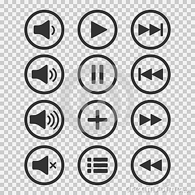 Free Audio Icons. Sound Buttons. Play Button. Pause Sign. Symbol For Web Or App. Vector Illustration. Stock Image - 103270031