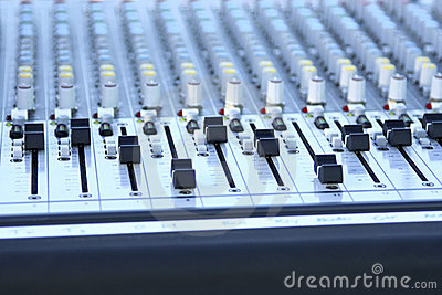 Audio mixing console close up