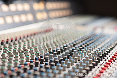 Audio sound mixer with buttons