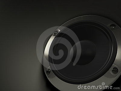 Audio speaker on black background
