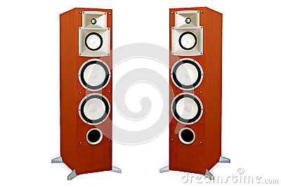 Audio speakers in wooden case isolated on white