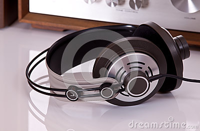 Audio stereo Headphones closeup