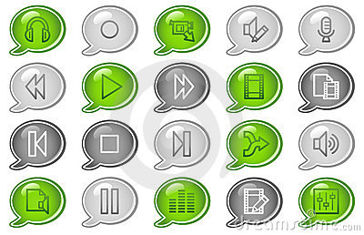 Audio video edit web icons