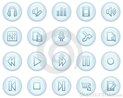 Audio and video edit web icons