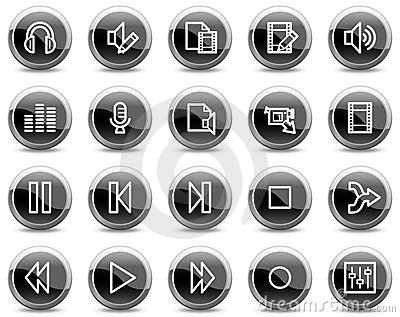 Audio video edit web icons, black circle buttons