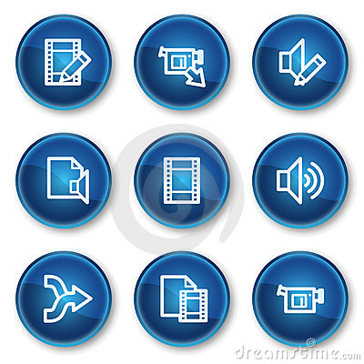 Audio video edit web icons, blue circle buttons