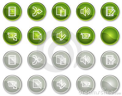 Audio video edit web icons, circle buttons