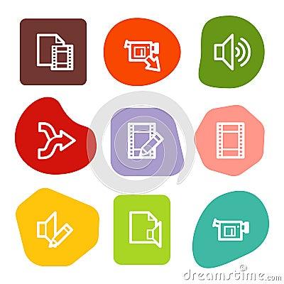 Audio video edit web icons, colour spots series