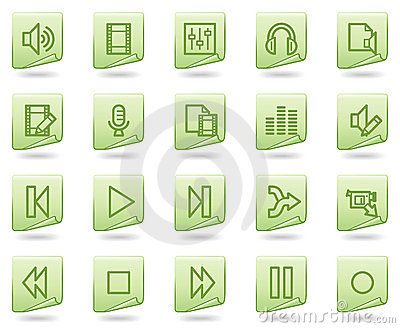 Audio video edit web icons, green document series
