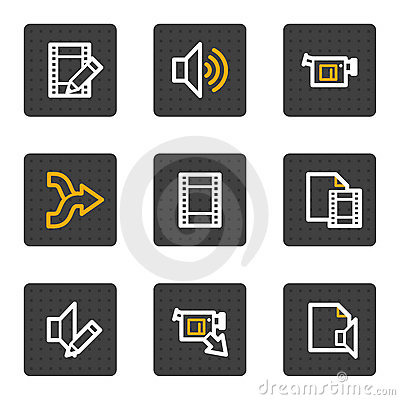 Audio video edit web icons, grey buttons series