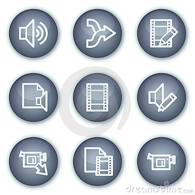 Audio video edit web icons, mineral circle buttons