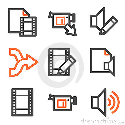 Audio video edit web icons, orange-gray contour