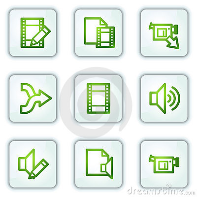 Audio video edit web icons, white square buttons