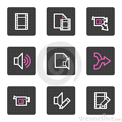 Audio video editing web icons