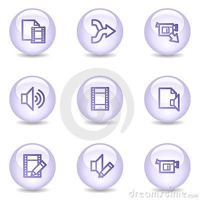 Audio and video editing web icons, pearl series