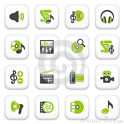 Audio video icons. Green gray series.