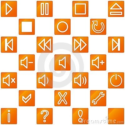 Audio video media icons set no.3 - orange