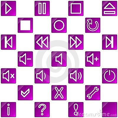 Audio video media icons set no.3 - pink, purple