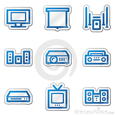Audio video web icons, blue contour sticker series