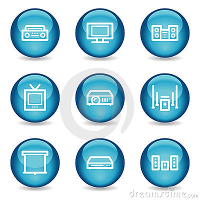 Audio video web icons, blue glossy sphere series