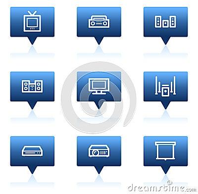 Audio video web icons, blue speech bubbles series