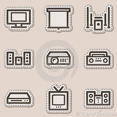Audio video web icons, brown contour sticker