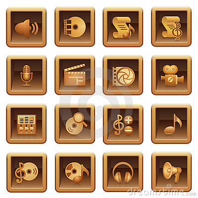 Audio video web icons. Brown series.