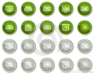 Audio video web icons, circle buttons