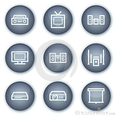 Audio video web icons, mineral circle buttons