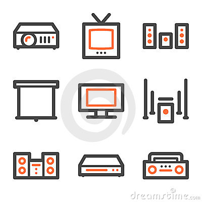Audio video web icons, orange and gray contour