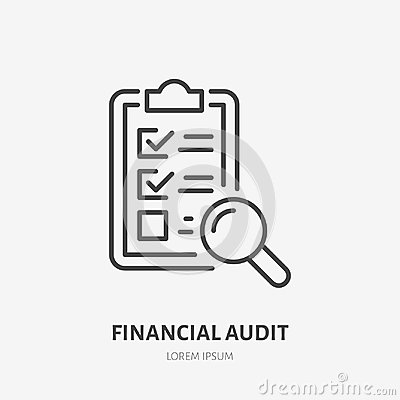 Free Audit Flat Line Icon. Check List With Glass Sign. Thin Linear Logo For Legal Financial Services, Accountancy Royalty Free Stock Photos - 117296868