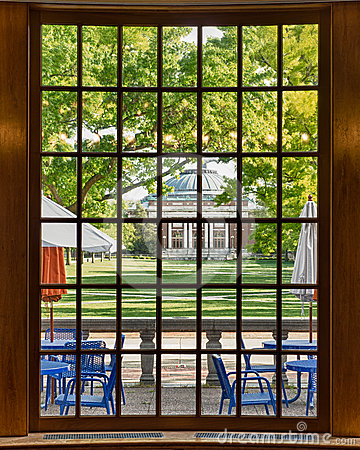 Auditorium through bay window frame