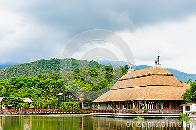 Auditorium on lake side  in Night Safari , Chiangmai, Thailand