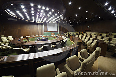 Auditorium for meeting with table and chairs