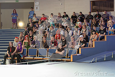 Auditorium of young people in lecture hall listens talks  at Animefest Editorial Photo
