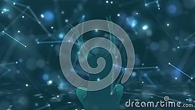 Auf 3d, das, die Zusammenfassung, kosmisch, Matrixhintergrund grafisch ist, können Sie das Schattenbild einer Frau in den Kopfhör vektor abbildung