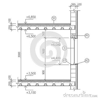 Aufbauzeichnung fensterdetail stockbilder bild 12750604 for Fensterdetail